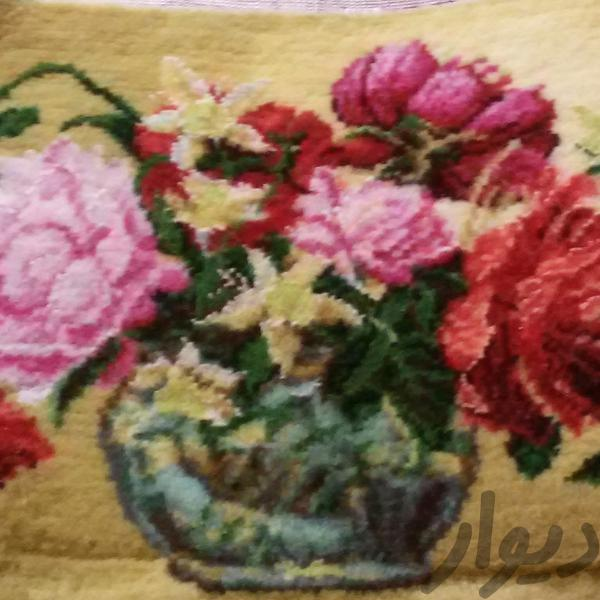 تابلو فرش طرح گلدان شیشه ای|فرش و گلیم|گنبد کاووس|دیوار