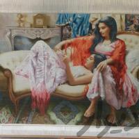 تابلو مهر مادری چله ابریشم دستباف فرش و گلیم سنندج دیوار